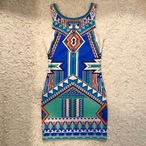 Peach Puff Aztec Print Tank Mini Dress Size Small